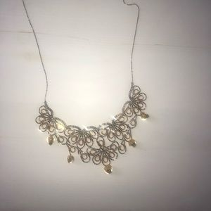 Gold and white gold beaded necklace